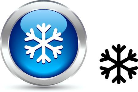 metall:  Snowflake  realistic button. Vector illustration.