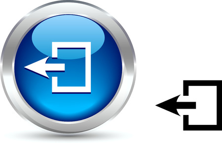metall:  Exit  realistic button. Vector illustration.