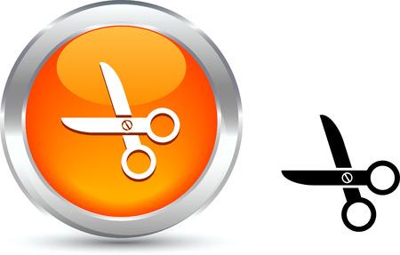 scissors  realistic button. Vector illustration. Stock Vector - 6131119