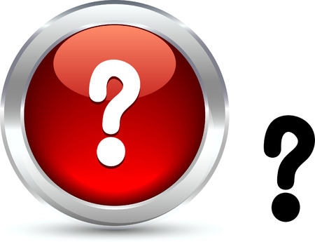 metall:  Question  realistic button. Vector illustration.