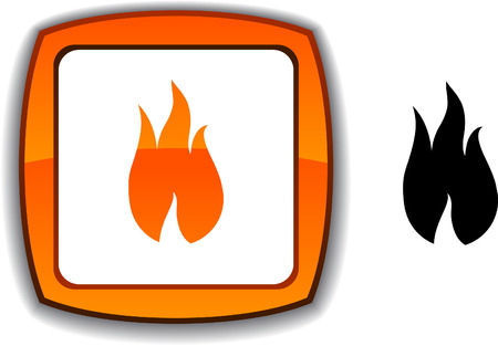 Fire   realistic button. Vector illustration.  Vector