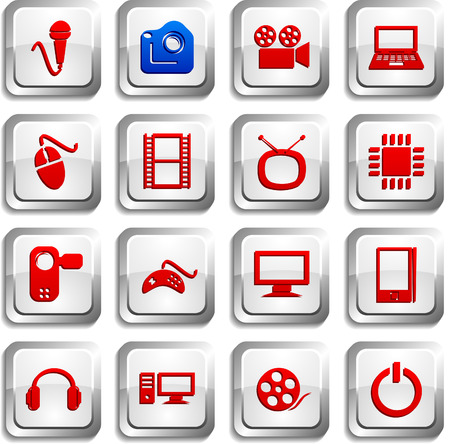 Multimedia button set. Vector illustration. Stock Vector - 6155046