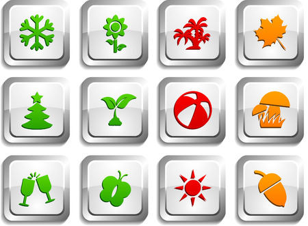 Seasons  button set. Vector illustration. Vector