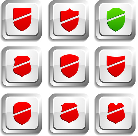 Shield  button set. Vector illustration.  Stock Vector - 6155033