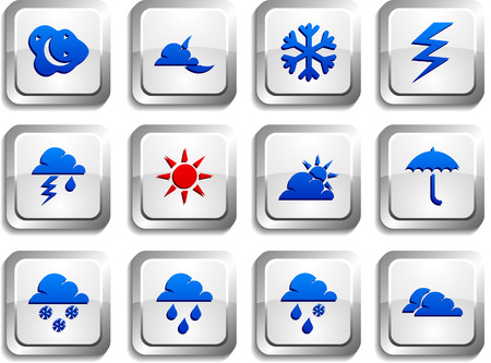 Weather  button set. Vector illustration. Stock Vector - 6155044