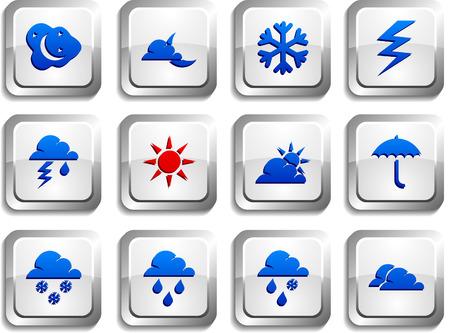 metallic  sun: Weather  button set. Vector illustration. Illustration