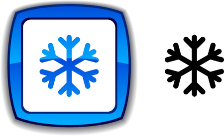 Snowflake  realistic button. Vector illustration.  Vector