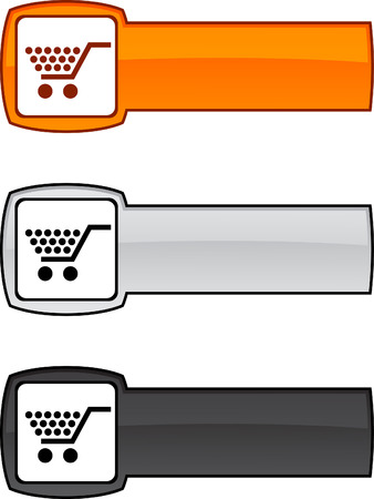 metall:  Shopping  web button. illustration.