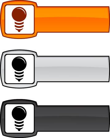metall: Bulb web button. illustration.