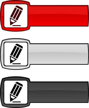 Pencil  web button. illustration.  Vector