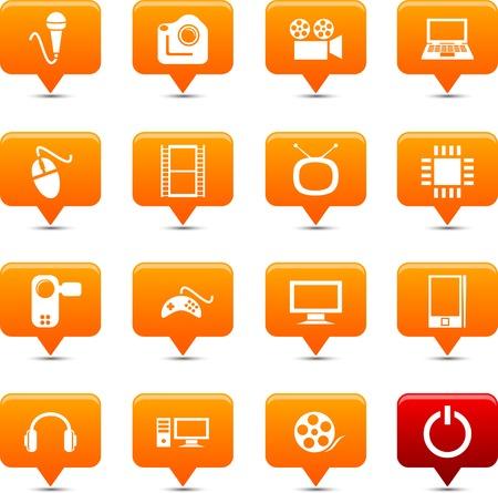 Multimedia    button set. Vector illustration. Stock Vector - 6185540