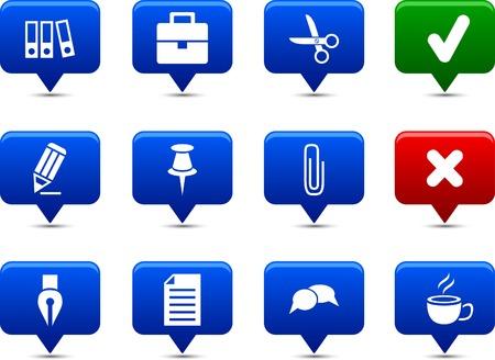 Office button set. Vector illustration. Stock Vector - 6185527