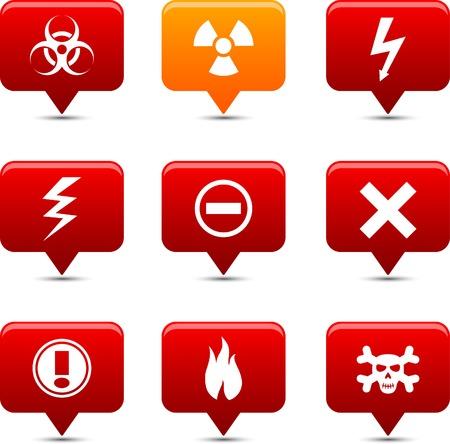 Warning   button set. Vector illustration. Stock Vector - 6185550