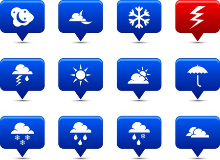 Weather    button set. Vector illustration. Stock Vector - 6185546