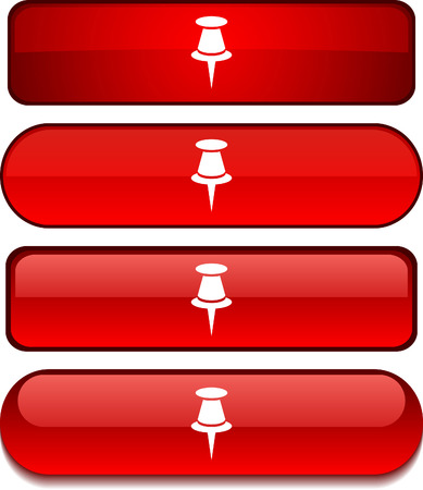 Drawing-pin  web buttons. Vector illustration.  Stock Vector - 6203384