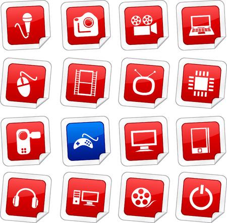 Multimedia sticker set. Vector buttons. Stock Vector - 6243959