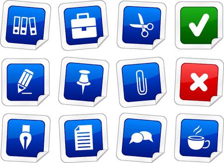 Office sticker set. Vector buttons.  Vector