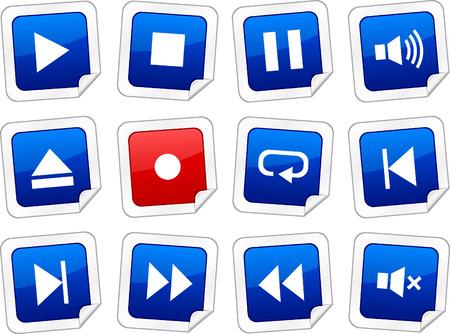 Player sticker set. Vector buttons.  Stock Vector - 6243933