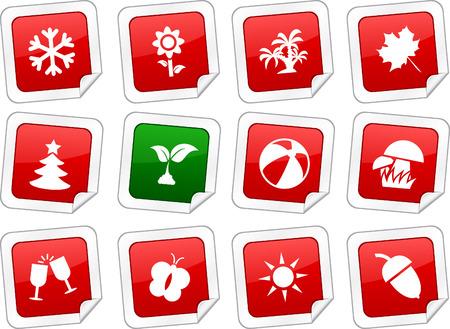 Seasons sticker set. Vector buttons. Stock Vector - 6243938