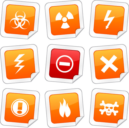 Warning sticker set. Vector buttons.  Stock Vector - 6243952