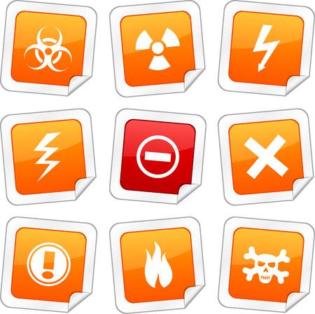 Warning sticker set. Vector buttons. Stock Vector - 6243952
