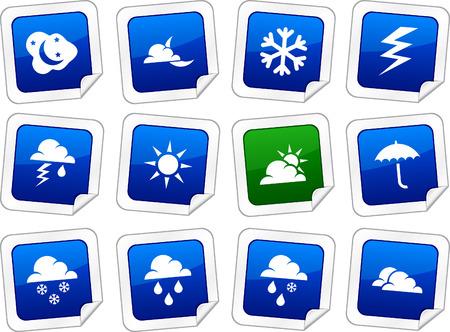 Weather sticker set. Vector buttons. Stock Vector - 6243941