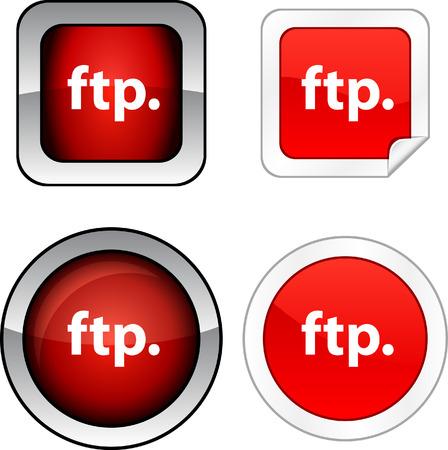 ftp: FTP   web buttons. Vector illustration.  Illustration