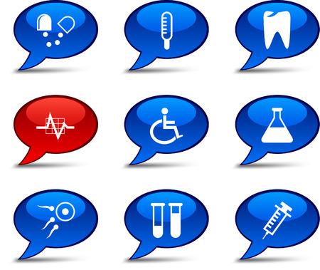 spermatozoon: Medical comics set. Vector buttons.