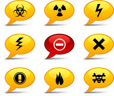 Warning comics set. Vector buttons. Stock Vector - 6282530