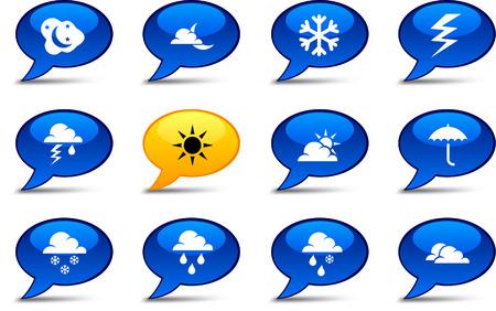 Weather comics set. Vector buttons. Stock Vector - 6282577