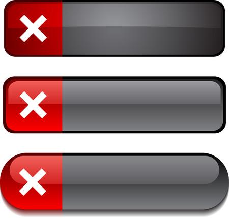 Interrompere i pulsanti web. Illustrazione vettoriale.