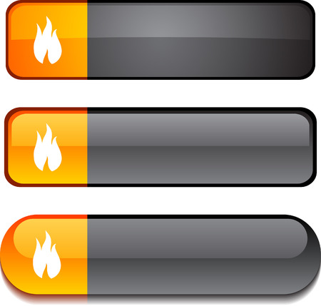 Fire   web buttons. Vector illustration. Stock Vector - 6303001