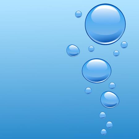 bulles: Eau bleue avec des bulles. Vecteur.