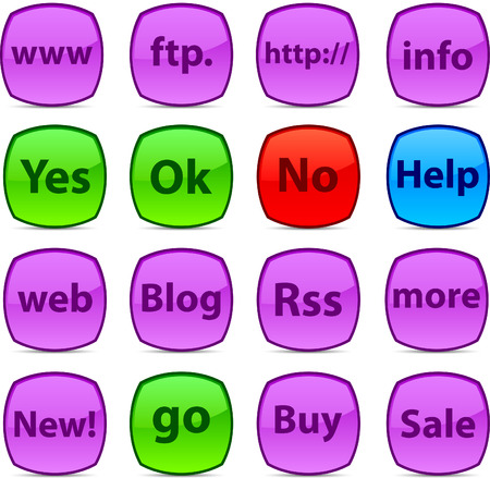 Internet  glossy icons. Vector buttons. Stock Vector - 6313498