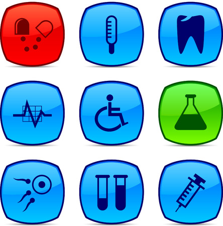 Medical  glossy icons. Vector buttons. Stock Vector - 6313496