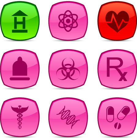 Medical  glossy icons. Vector buttons. Stock Vector - 6313495