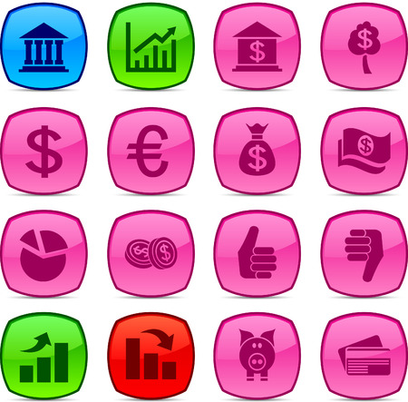 MOney  glossy icons. Vector buttons. Stock Vector - 6313499