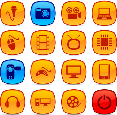 multimedia icons: Multimedia  glossy icons. Vector buttons.