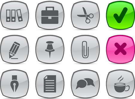 Office   glossy icons. Vector buttons. Stock Vector - 6313475