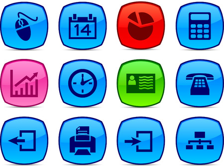 Office   glossy icons. Vector buttons. Vector