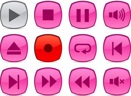 Player glossy icons. Vector buttons. Stock Vector - 6313469