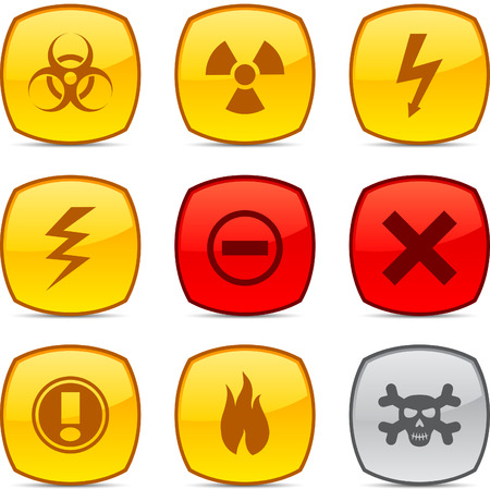 Warning  glossy icons. Vector buttons. Stock Vector - 6313492