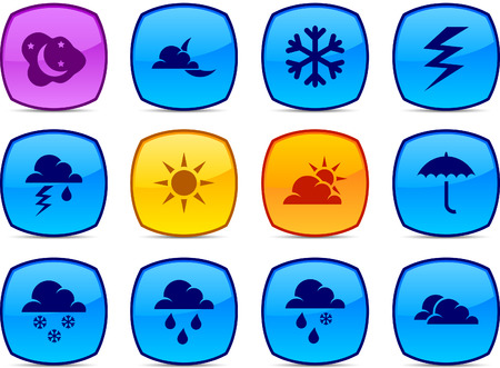 Weather   glossy icons. Vector buttons. Stock Vector - 6313479
