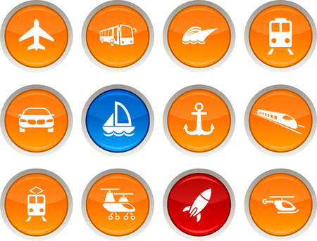 helicopters: Transport glossy icons. Vector buttons.