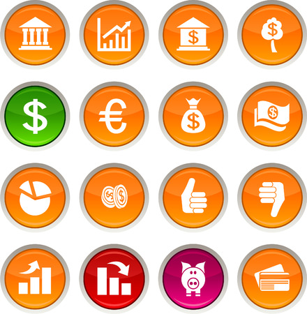 Money glossy icons. Vector buttons. Stock Vector - 6334144