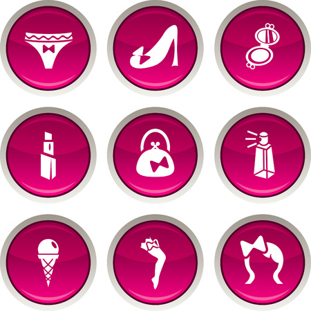 pomade: Women glossy icons. Vector buttons.