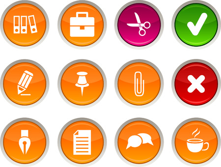 Office glossy icons. Vector buttons.  Stock Vector - 6334135
