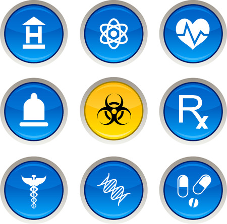 Medical glossy icons. Vector buttons. Stock Vector - 6344226