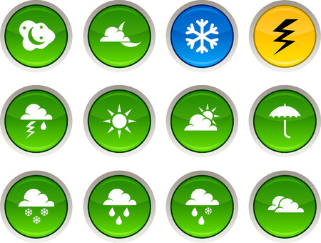 Weather glossy icons. Vector buttons. Stock Vector - 6344217