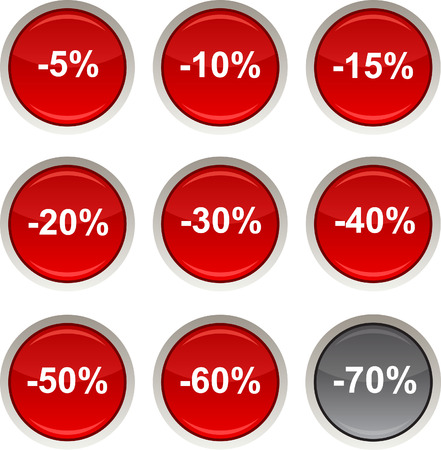 Discount glossy icons. Vector buttons Vector